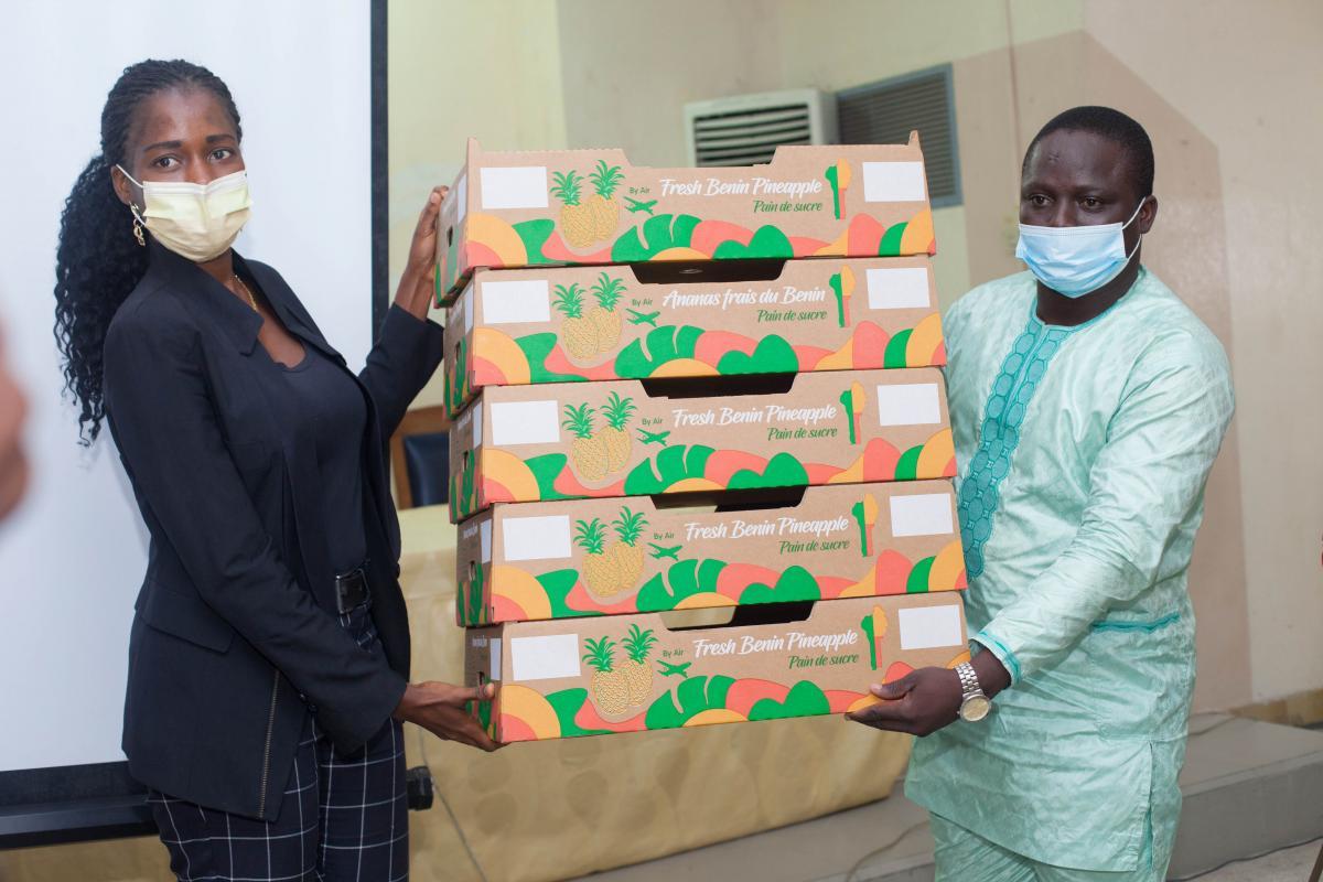 Exportation de l'ananas frais béninois sur le marché international Le label Bénin préservé avec les nouveaux emballages en carton subventionnés par En