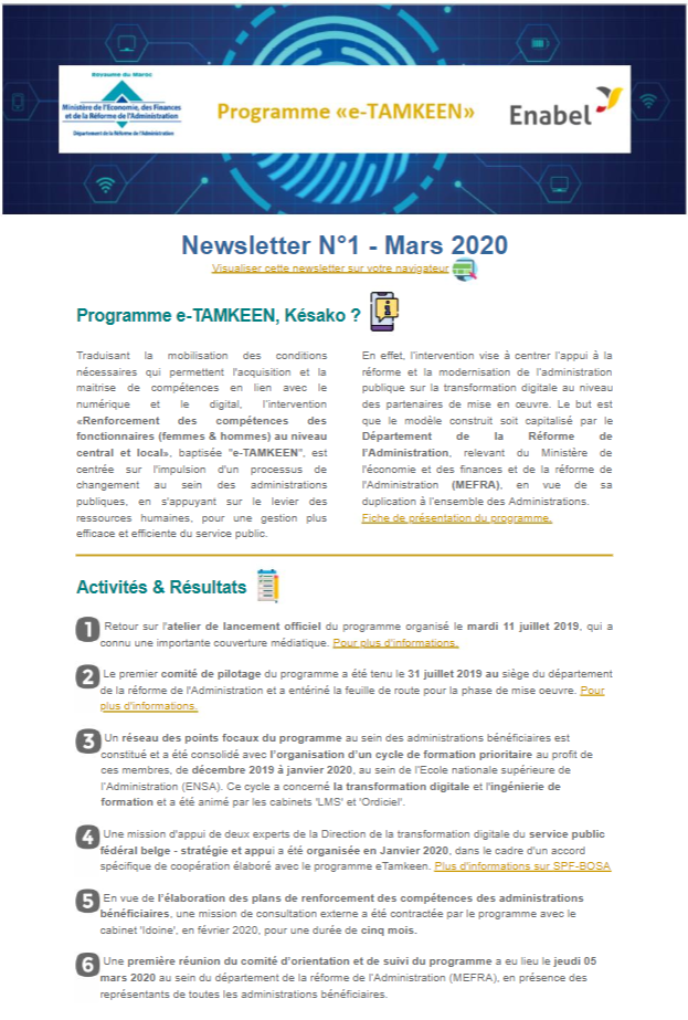 Première édition de la newsletter trimestrielle de l'intervention e-TAMKEEN