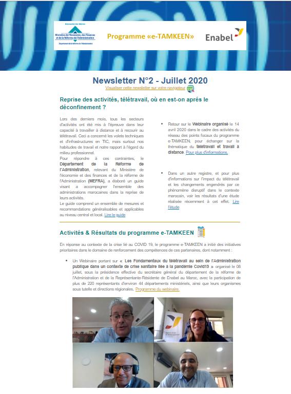 Consultez la 2éme newsletter trimestrielle de l'intervention e-TAMKEEN - Maroc