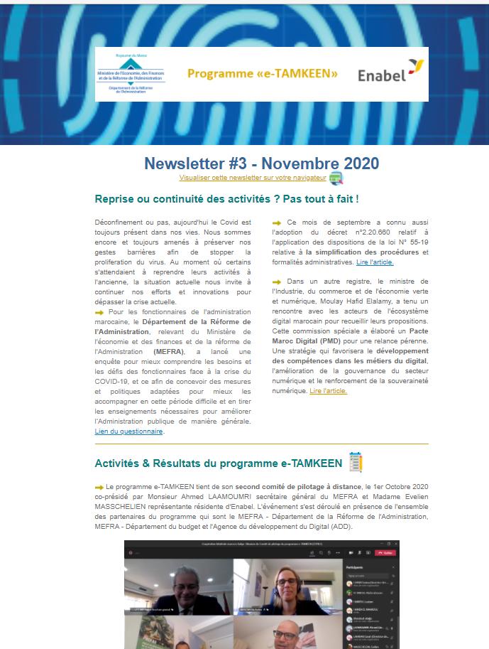 Consultez la 3éme newsletter trimestrielle de l'intervention e-TAMKEEN - Maroc