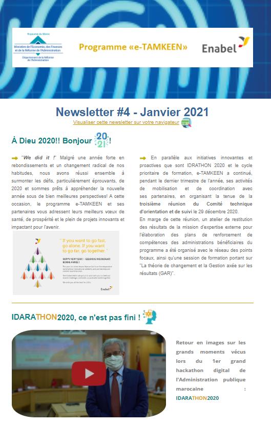 Consultez la 4éme newsletter trimestrielle de l'intervention e-TAMKEEN - Maroc