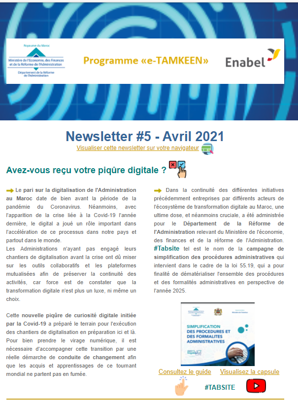 Consultez la 5éme newsletter trimestrielle de l'intervention e-TAMKEEN du Maroc