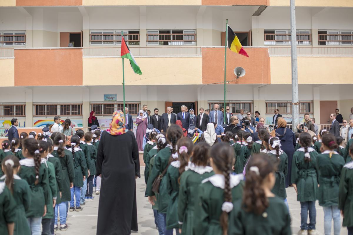 Inauguration by Minister Reynders of rehabilitated school in Gaza