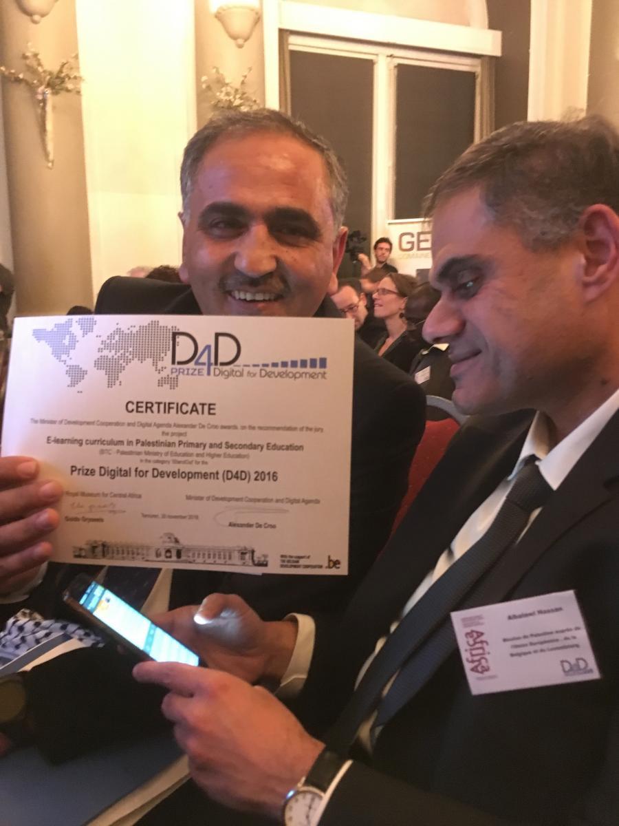 Palestinian e-learning project wins Belgian digitalisation prize