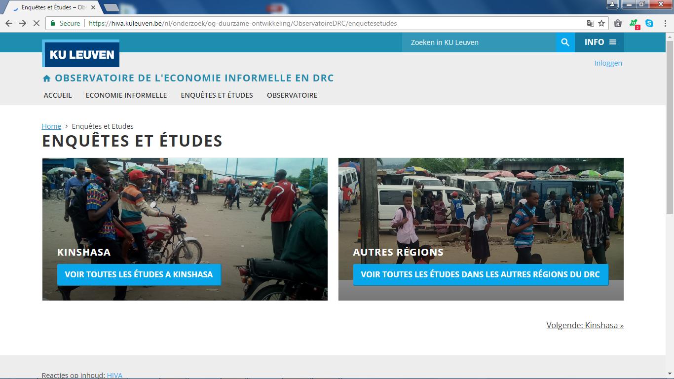 Mise en place d'un observatoire et d'un site web pour l'économie informelle en RDC.