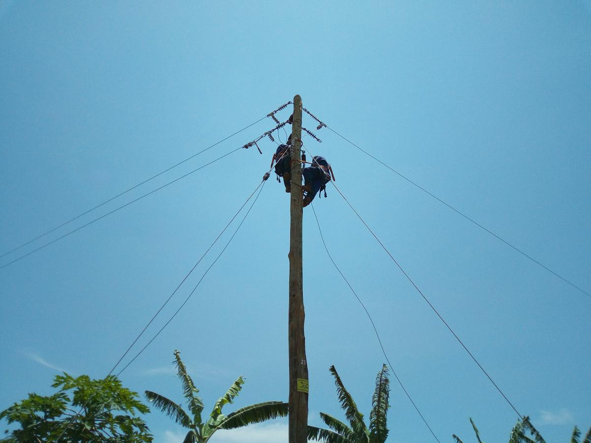 Stringing of power lines in Rwamagana District